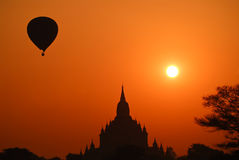 Hot air balloon with Bagan temple Royalty Free Stock Photos