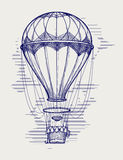 Hot air balloon ball pen sketch. Vector illustration Stock Images