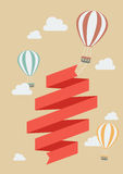 Hot air balloon with banner Stock Photography