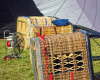 Hot air balloon baskets ready for flying at festival. Stock Images