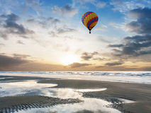 Hot air balloon at beach Stock Images