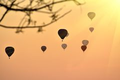 Hot Air Balloon on beautiful sunrise sky.  royalty free stock images