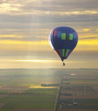 Hot air balloon with beautiful sunset sky Stock Images