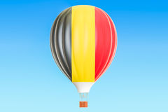 Hot air balloon with Belgian flag, 3D. Rendering Stock Photos