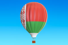 Hot air balloon with Belorussian flag, 3D rendering Royalty Free Stock Photo