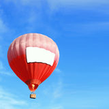 Hot Air Balloon with big billboard. ( empty copy space ) and blue sky, easy for your design Royalty Free Stock Image