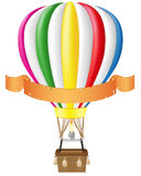 Hot air balloon and blank banner Royalty Free Stock Photo