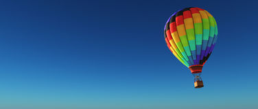 Hot air balloon. On a blue background. This is a 3d render illustration Stock Photo