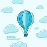 Hot air balloon. Hot air balloon in the blue sky with clouds. Flying  aerostat. Concept for travel agency, motivation, journey, adventure,  discovery. Vector Stock Images