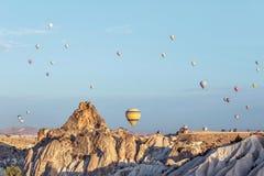 Hot air balloon in sky in Goreme Cappadocia. Hot air balloon in blue sky in Goreme Cappadocia stock photography