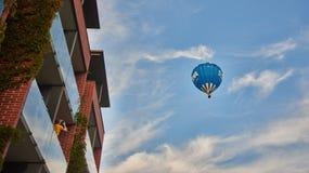 Hot air balloon on blue sky Stock Photo