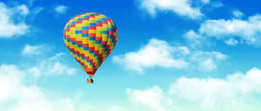 Hot-air balloon. And blue sky and white clouds Stock Photo