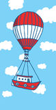 Hot air balloon boat flying to adventure Stock Image