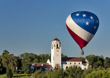 Hot air balloon and boise train depot Royalty Free Stock Photo
