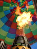 Hot air balloon burner. Hot air balloon with flaming burner stock photo