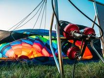 Hot air balloon burner, aerostat is prepared for flight, summer aero travel. Concept royalty free stock photos