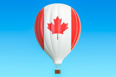 Hot air balloon with Canada flag, 3D rendering. Hot air balloon with Canada flag Royalty Free Stock Images