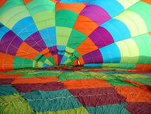 Hot air balloon canopy. Inside the canopy of an inflating hot air balloon stock photos