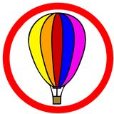 Hot air balloon caution red circular road warning sign isolated Stock Images