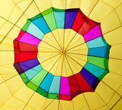 Hot air balloon center. Center of a colorful hot air balloon being inflated royalty free stock images