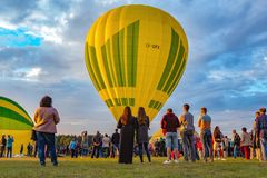 Hot air balloon championship. Timelapse of Hot air balloon championship stock video