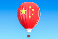 Hot air balloon with China flag, 3D rendering. Hot air balloon with China flag, 3D Royalty Free Stock Photos