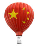 Hot Air Balloon with Chinese Flag (clipping path included) Stock Images