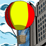 Hot air balloon in the city Stock Photo