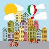 Hot air balloon and city. Italy culture design. Vector graphic Stock Photos