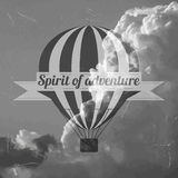 Hot air balloon. On cloud background and text spirit of adventure Stock Photography