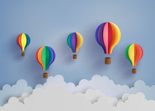 Hot air balloon and cloud. Origami made colorful hot air balloon and cloud.paper art style Stock Photography