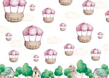 Hot Air Balloon and Clouds background. Hand drawn watercolor cartoon balloon on white background
