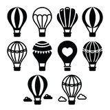 Hot air balloon and clouds icons set Stock Photo