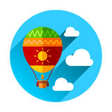 Hot Air Balloon and Clouds Stock Photo