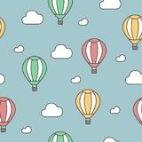 Hot air balloon and clouds. Seamless pattern. Vector hand drawn doodle cartoon. EPS 8 Stock Photos