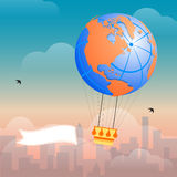 Hot Air Balloon and Clouds. In the sky of a city Stock Photography