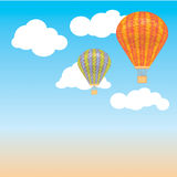 Hot air balloon and clouds in the sky. Vector illustration. Background. postcard Royalty Free Stock Images