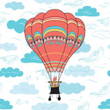 Hot air balloon, clouds and wind seamless pattern. Royalty Free Stock Photography