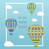 Hot air balloon in the cloudy sky  Royalty Free Stock Photos