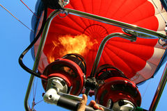 Hot air balloon. Colored hot air balloon ascends royalty free stock photography