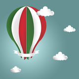 Hot air balloon in the colors of the flag of Italy. Clouds with hot air balloon from paper and white banner on blue background Illustration. Air balloon in the Royalty Free Stock Images