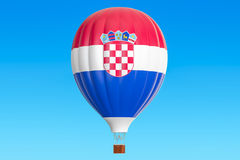 Hot air balloon with Croatian flag, 3D. Rendering Stock Images