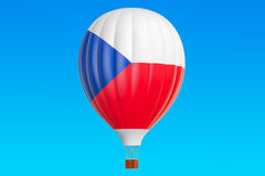 Hot air balloon with Czech Republic flag, 3D rendering. Hot air balloon with Czech Republic flag, 3D Royalty Free Stock Photography