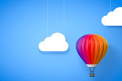 Hot Air Balloon. 3d Rendering. Hot Air Balloon in front of blue background. 3d Rendering Royalty Free Stock Photography