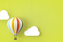 Hot Air Balloon. 3d Rendering Stock Images