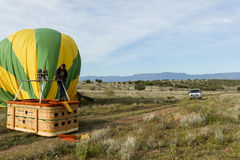 Hot air balloon deflating Stock Images
