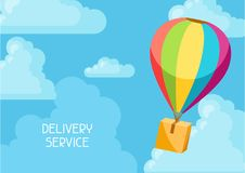Hot air balloon with delivery box. Conceptual illustration of shipping goods by air Royalty Free Stock Photos