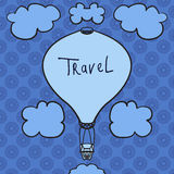 Hot air balloon design icon in the sky. Flat design style. Hot air balloon silhouette. Modern flat icon. Web site page Royalty Free Stock Photos