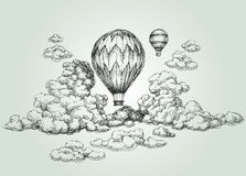 Hot air balloon drawing. Hot air balloon up in the clouds drawing Royalty Free Stock Image