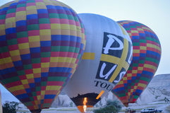 Hot air balloon,early in the morning. Colorful air balloon in Capadocia, Turkey royalty free stock photography